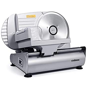 """CUSIMAX Meat Slicer Electric Food Slicer with 7.5"""" Removable Stainless Steel Blade and Pusher Deli Cheese Fruit Vegetable Bread Cutter Adjustable Knob for Thickness Food Carriage & Non-Slip Feet"""