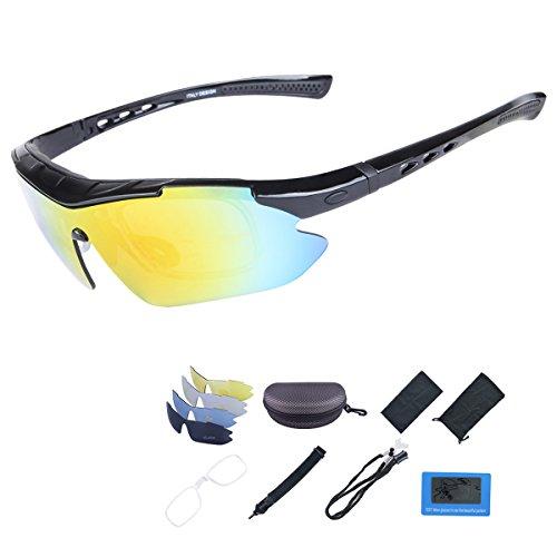 ShareWe Gafas de Ciclismo Unisex Gafas de Sol de Deportivas Polarizadas 5 Lentes Intercambiables para Deporte y Aire Libre Ciclismo Conducir Pesca Ski Esquiar Golf Correr (Negro)