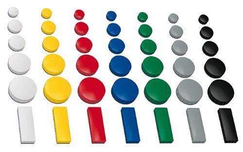 30x Magnete, farbig sortiert, 3 verschieden Größen Ø 24 u. 32 u. 54x19 mm, Haftmagnete für Whiteboard, Kühlschrank, Magnettafel, Magnetset, M - 30 Stück