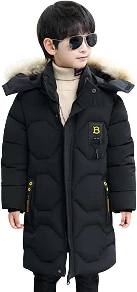 LSPAR Boys Long Down Jacket Winter Warm Fur Collar Hooded Thickened Jacket for School