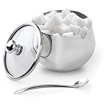 VANGELIX Sugar Bowl Stainless Steel Sugar Bowl with Clear Lid and Spoon for Home and Kitchen Condiment Container Salt Server