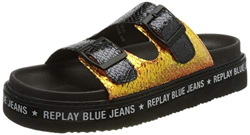 Replay Damen Muddy - DUDLEVILLE Flacher Slipper, Black Gold 006, 35 EU