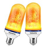 Texsens LED Flame Effect Light Bulbs - 4 Modes LED Flickering Fire Flame with Upside-down Effect, Simulated Decorative Lights Vintage Flaming Lamp for Halloween/Christmas Decoration/Party/Bar- 2 Pack