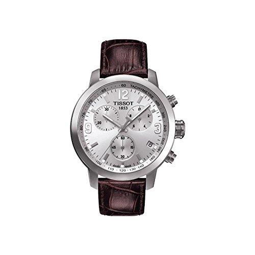Tissot T0554171603700 reloj para hombre con cristal de zafiro antirreflectante, correa de cuero color marrón, caja de acero inoxidable, 42mm