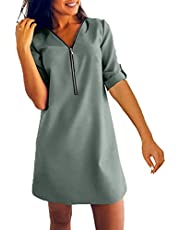 Damesmode, pure kleur, vrijetijdsjurk, losse V-hals, ritssluiting, lange mouwen, mini-A-lijn, rok, grote maten, buik-afslankende jurk