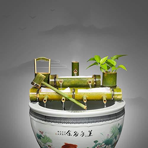 FF&XX Bamboo Water Feature Statue,Rockery Fountain Decoration,Stone Trough Fish Tank Ornaments,Indoor Outdoor Bamboo Water Fountain A 100cm