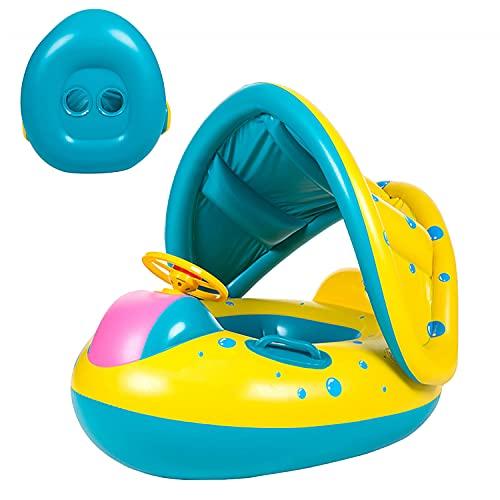 Yesloo Flotador, Flotador Bebé , Flotador Bebé Cuello, Flotador para Bebé Piscina , Anillo de natación Inflable, Flotación para Bebés con Techo removible