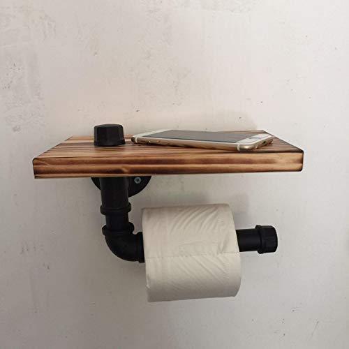 Baorio Soporte para papel higiénico con bandeja para papel higiénico de estilo retro con función multifunción, tubo de hierro