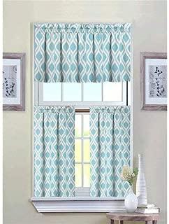 GoodGram Ultra Luxurious Turquoise Geometric Shabby 3 Piece Kitchen Curtain Tier & Valance Set