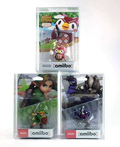 10 Schutzhüllen für Nintendo amiibo Box protector für kleine amiibos wie Zelda Toon Link's Awakening amiibo Twilight Princess Kirby Super Mario Smash Bros Woll Yoshi 0,5 mm Stärke Glasklar