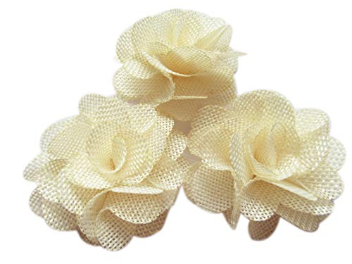 YYCRAFT: 15 rosas de arpillera, flores de tela 3D, para diademas, acce