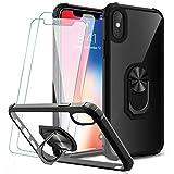 KEEPXYZ Funda iPhone X, iPhone XS + 2 Pcs Protector de Pantalla Cristal Vidrio Templado, Parte Posterior Dura de PC Transparente Silicona Carcasa con 360 Grados iman Soporte para iPhone X/XS
