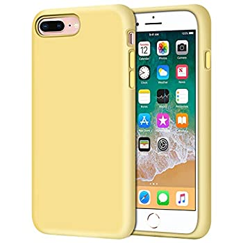 Anuck Case for iPhone 8 Plus Case for iPhone 7 Plus Case 5.5 inch Soft Silicone Gel Rubber Bumper Case Microfiber Lining Hard Shell Shockproof Full-Body Protective Case Cover - Yellow