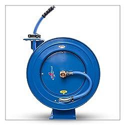 top 10 water hose reel BluBird RMX BluSeal Retractable water hose reel with rubber hot water hose 5/8 x 50ft + 6ft…