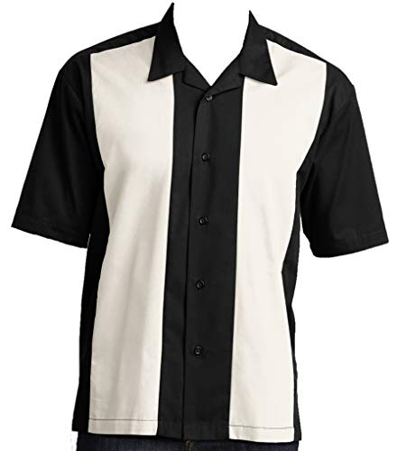 Good Life Relaxed Fit Men's Retro Bowling Camp Shirts (XL, Black-OffWhite)