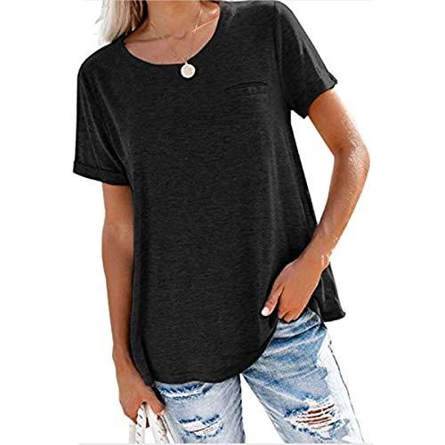 Hbysgj Camiseta de cuello redondo ligera de corte relajado para mujer