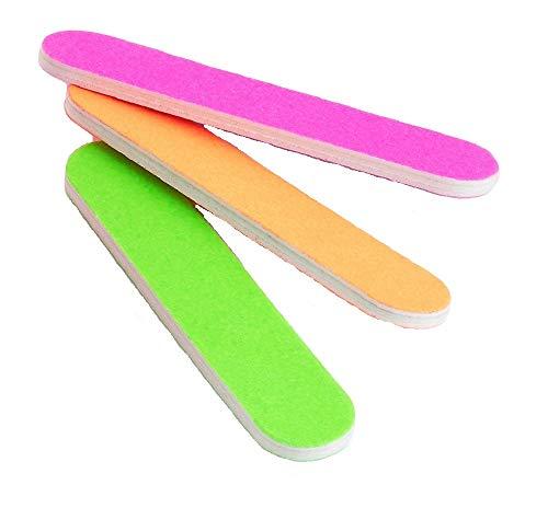 Set di tre lime per unghie in rosa fluo arancione e verde per manicure a doppio lato, lima colorata per pedicure