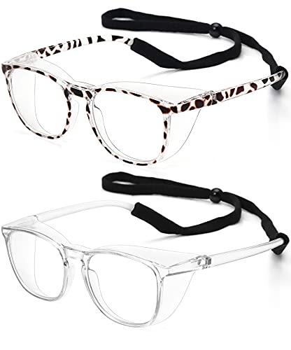 STORYCOAST Anti Fog Safety Glasses Blue Light Blocking Eyeglasses for Women Men Safety Goggles UV Protection (Transparent + Grey Leopard)