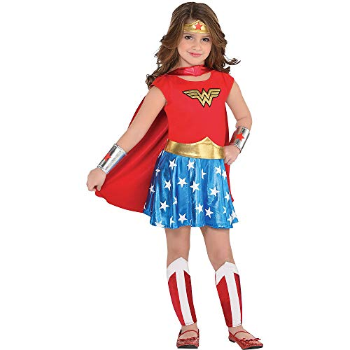 Costumes USA Wonder Woman Costume for Toddler Girls, Size 3-4T, Includes Dress, Cape, Headband, Gauntlets, and More