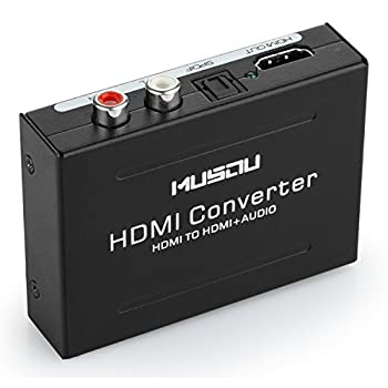 Musou HDMI Audio Extractor,HDMI to HDMI + Optical Toslink SPDIF  + RCA L/R  Stereo Analog Outputs Video Audio Splitter Converter Support 1080P,Black