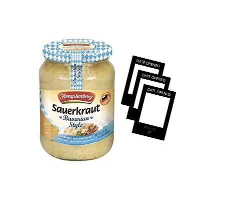 Hengstenberg Sauerkraut Bavarian 24oz jar, Including 3 Date Opened Stickers-Mark The Date Jar Was Unsealed