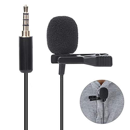Clip-on microfoon, 1,5 m kabel Lavalier-microfoon voor voicechat, spraak, conferentie, interview, lesmicrofoon met microfoon Katoen, kraagclip, reversmicrofoon
