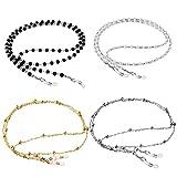 ONESING 4 Pcs Eyeglass Chains for Women Eyeglasses String Holder Glasses Strap Eyewear Chain Glasses Cord Lanyard Gift (Black, White, Gold, Silver)
