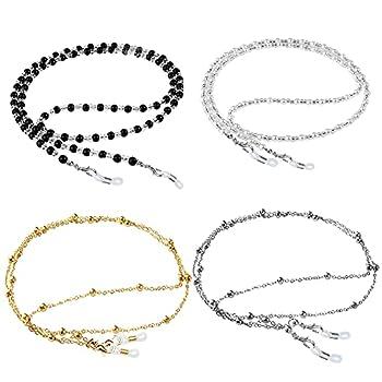 ONESING 4 Pcs Eyeglass Chains for Women Eyeglasses String Holder Glasses Strap Eyewear Chain Glasses Cord Lanyard Gift  Black White Gold Silver