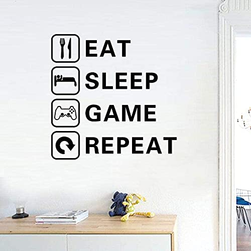 ZZQQQ Wandaufkleber Essen und Schlafen Spiel Trilogie Junge Kinderzimmer Wohnzimmer Aufkleber Tapete Dekoration Spielzimmer Aufkleber 75X75cm