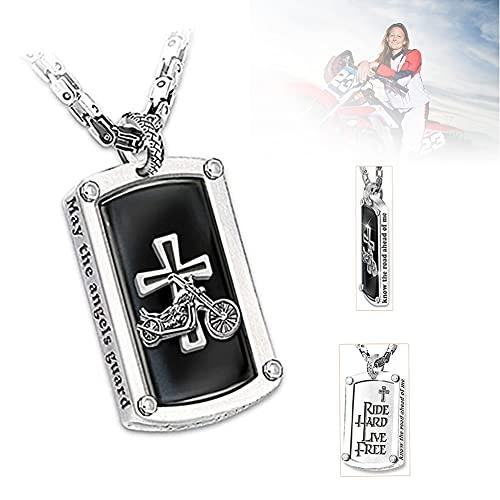 HUUMA Biker's Blessing Collar con Colgante Grabado para Hombre, Colgante Cruzado, Cadena para el Cuello, Regalo de joyería