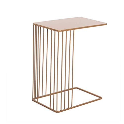 Ruimtebesparende computer bureau, creatieve Iron Art Sofa Side Table slaapkamer nachtkastje balkon vrije tijd tafel, 45 * 30 * 59CM (kleur: wit)