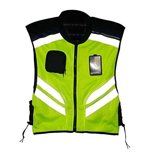 Chalecos de seguridad Multi-bolsillos de alta visibilidad frente de la cremallera Chaleco de seguridad con bandas reflectoras de bicicletas y conductores de motocicletas multipropósito Seguridad Chale