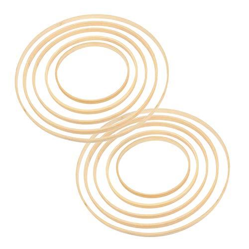 TOCYORIC 10Pcs Cerchio in bambù, Anello Acchiappasogni Anello in Legno da Sogno Cerchio con 5 Dimensioni Diverse Anello di Cerchio in Legno di bambù per Decorazioni Fai da Te, Ghirlande
