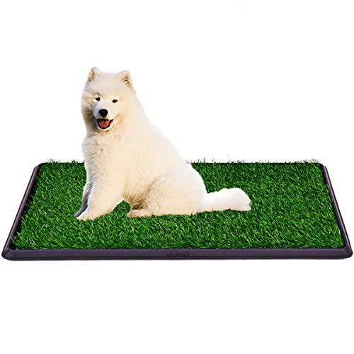 Indoor Dog Potty Grass Pad - Puppy Potty Training Artificial Grass Mats,Dog Fake Grass Pee Pad with Tray,Reusable 3 Layered Dog Potty Trainer,Easy to Clean