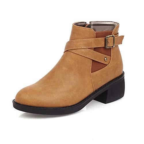 LotCow Botas de tobillo de las mujeres tacón bloque hebilla de metal correa de moda botas