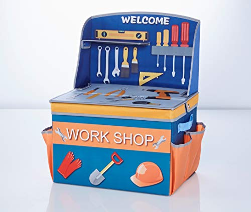 TBB-Family Kinder Aufbewahrungsbox, Spielzeugkiste, Faltkiste mit Deckel und Griffen für Spielzeug und Kinderzimmer, Werkbank