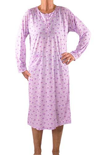 FASHION YOU WANT Damen Senioren Oma Nachthemd mit Blumenmuster kuschelig weich aus Baumwolle ideal für pflegebedürftige Omas einfach anzuziehen und super pflegeleicht (N06, 42/44)