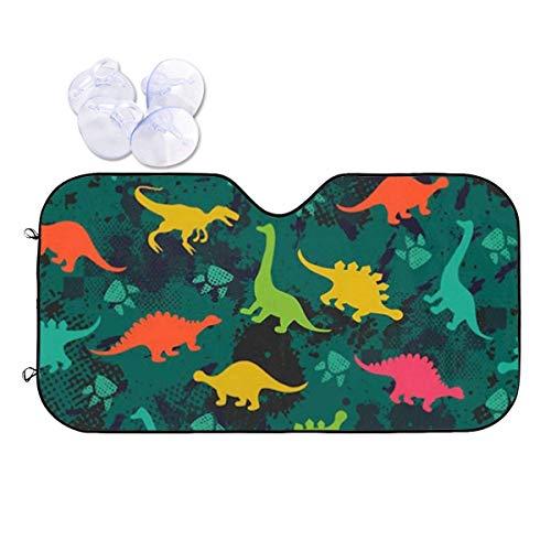 JONINOT Bonita sombrilla de Dinosaurio Colorida para niños, niñas y niños, fácil de Usar, se Adapta a Parabrisas de Varios tamaños estándar