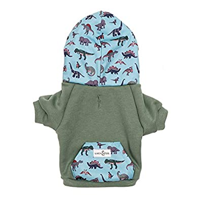 Lucy & Co. Zip Dog Hoodie (Pets) - Dog Clothes - Dog Accessories - Comfortable, Warm Dog Sweater - Dogs Clothes - Cat Clothes (Medium, Dinomite Delight)