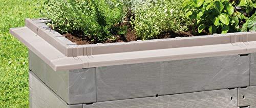 Juwel Schneckenkanten für Hochbeet Timber (6 Bausteine, Schneckenabwehr, für eine 3,6 m Umrandung, Farbe nordic wood, lückenlose Schnecken-Abwehr) 20448