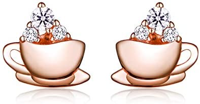 Earrings for Woman 925 Sterling Silver With Blue Crystal Coffee Cup product image