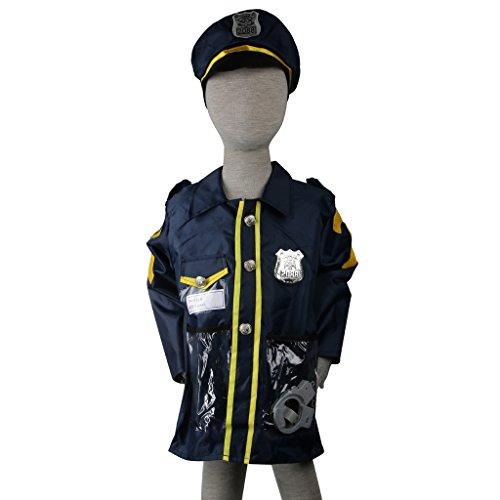 Rettungsdienst Kostüm Kind Kostüm Halloween Party Outfit Zubehör - Blauer Polizist, Mantellänge: 55cm / 21.65inch