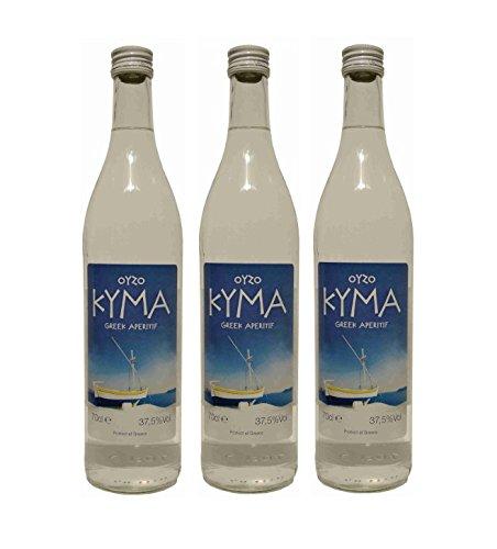 3x Ouzo Kyma 37,5% Vol. von Loukatos aus Patras Peleponnes Griechenland - feiner milder griechischer Trester Anis Schnaps Spar Set + 1 Probiersachets Frappe oder Olivenöl