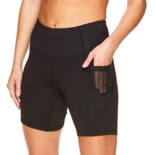 Reebok Women's Compression Running Shorts - High Waisted Performance Gym Yoga & Workout Bike Short - 7 Inch Inseam - Black Trainer High Rise, Medium