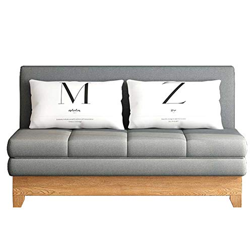 Convertible Sofa Sleeper Couch, Including Pull Out Bed and 2 Lumbar Pillows, Compact Sofabed for Living Room or Bedroom,Gray,1.95m