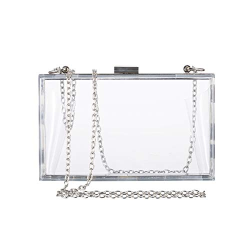 Clear Purse Bag Crossbody Box Clutch for Women, Stadium Approved Purses and Handbags for Prom, Bachelorette Party, Bridal Wedding, Work, Sporting Gameday, NFL & Concerts with Silver Chain Strap