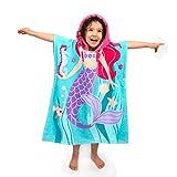 Florica 100% Baumwolle Kinder Jungen Mädchen Kapuzenponchos Schwimmen Bad Handtuch (Große Meerjungfrau)