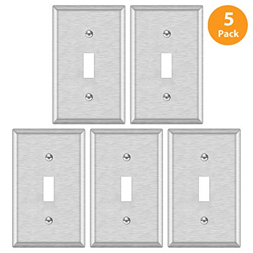 5 Pack - ELECTECK 1-Gang Metal Toggle Wall Plate, Non-corrosive Stainless Steel Light Switch Outlet Cover, Standard Size 4.52 x 2.77, Silver