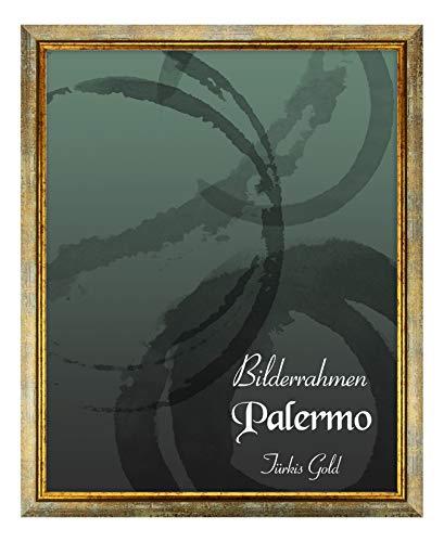 Bilderrahmen Palermo 84x119 cm DIN A0 in Türkis Gold aus Massivholz mit Antireflex-Kunstglas