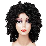 Short Loose Curly Wigs Fluffy Weave Curl Afro Synthetic Hair Wig Natural Daily Half Wigs for Black Women and White Women Breathable Rose Net Wigs (1B Natural Black)